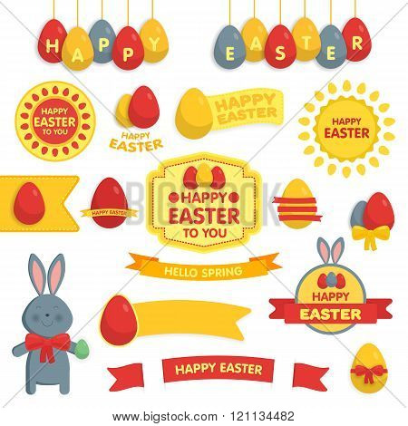 Set of Happy Easter ornaments and decorative elements.