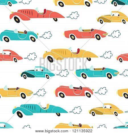 Retro Cars Seamless Pattern