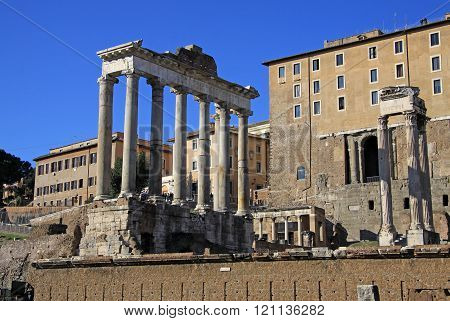 Rome, Italy - December 21, 2012: Ruins Of The Temple Of Saturn At Roman Forum, Rome, Italy