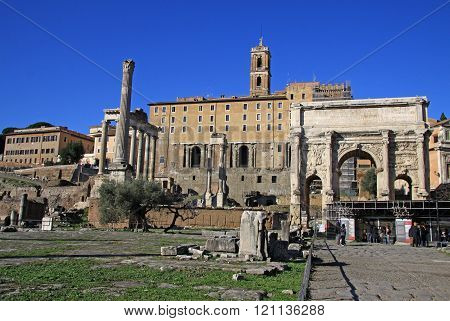 Rome, Italy - December 21, 2012:  Arch Of Septimius Severus At The Roman Forum, Rome, Italy