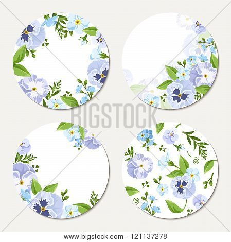 Four vector circle cards with blue and purple flowers. Eps-10.