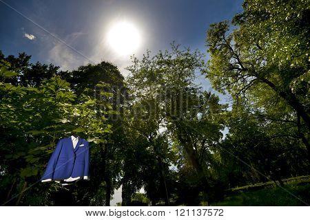 Groom Blue Suit Hanging In Tree