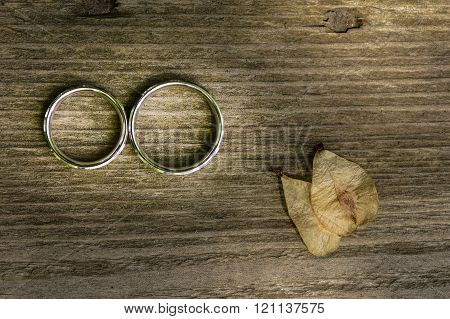 Gold wedding rings placed on a wooden texture