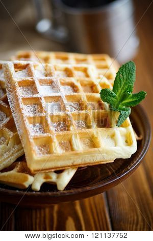 Viennese waffles with powdered sugar