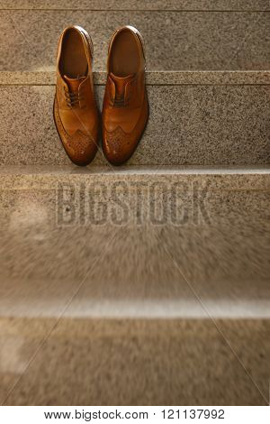 Brown Leather Shoes Groom In Natural Light