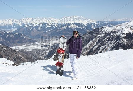 Young Woman On The Kaprun, Skiing Resort In Austria.