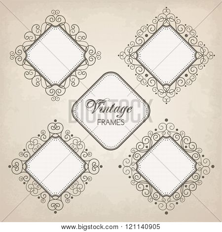Set Of Vintage Calligraphy Frames