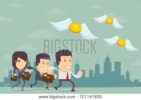 business people run a race