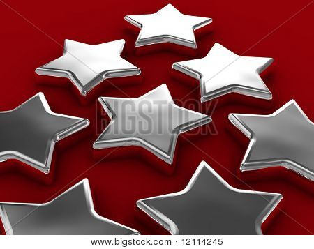 Chrome stars on red