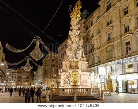 VIENNA, AUSTRIA - NOVEMBER 2015: Famous Statue Pestsaule at night on 20th of November 2015 in Vienna
