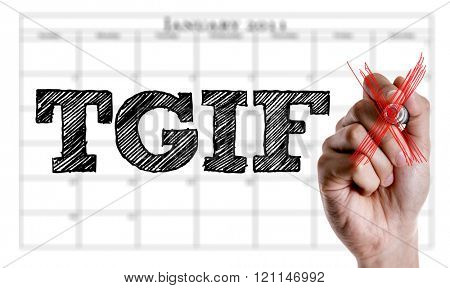 Hand writing the text: TGIF