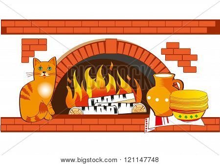 Homeliness Vector. Rustic Stove. Vector Belarus. Russian Stove Vector. Cat Vector. Cat And Pancakes Vector. The Interior Of The House A Vector. Rustic Stove Hoods. Rustic Stove. Stove Kitchen.