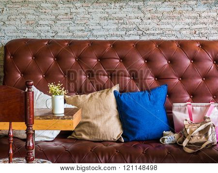 Vintage Style Of Coffee Shop Interior Decoration The Leather Sofa