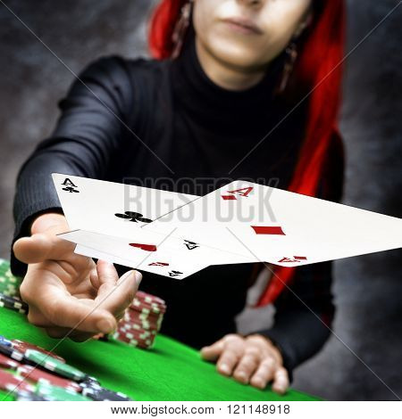 poker cards throw
