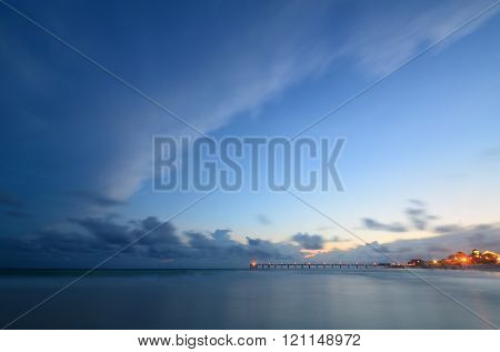 Long Pier During Twilight