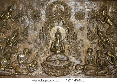 The copperplate engraving Buddha in temple Thailand