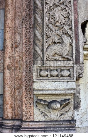 Relief Of Sheep From San Fermo Maggiore Beautiful Gothic Side Portal In Verona
