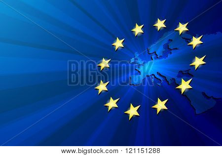 Europe map and European union flag