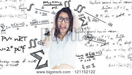 Female beauty screaming against maths equation