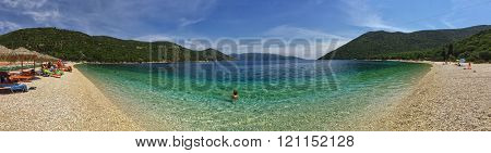 Panoramic view of tuquoise waters Antisamos Beach in Greek Kefalonia Island