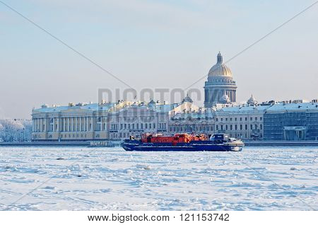 Ice-class Tugboat  On Neva River In St. Petersburg, Russia