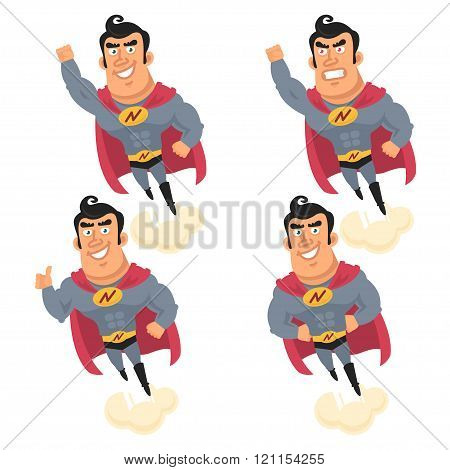 Superhero flying in different versions