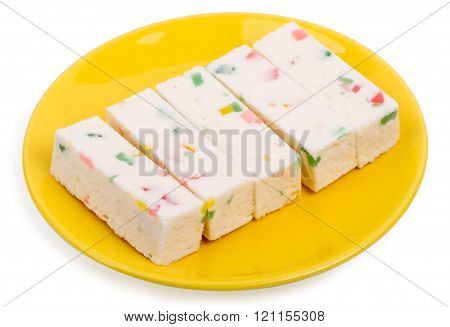Fruit Candy Or Pastila On A Yellow Saucer Isolated On A White