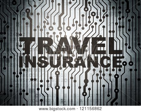 Insurance concept: circuit board with Travel Insurance