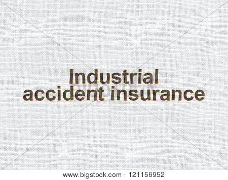 Insurance concept: Industrial Accident Insurance on fabric texture background