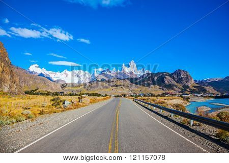 Argentine Patagonia. Excellent asphalt road to the majestic Mount Fitz Roy. Sunny day in February