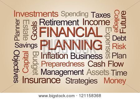 Financial Planning Word Cloud on Light Brown Background