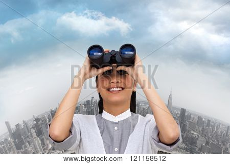 Visionary businesswoman looking through binoculars against curved cityscape