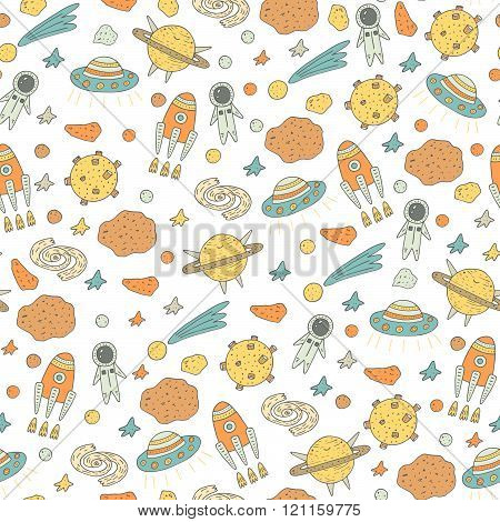 Cute hand drawn doodle seamless pattern with cosmic objects