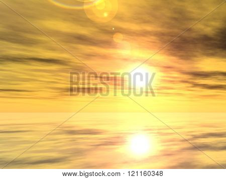 A beautiful seascape with water and reflection of the sky with clouds at sunset background