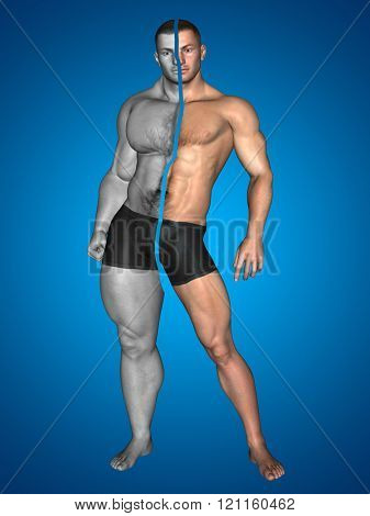 Concept or conceptual 3D strong young male man bodybuilder before and after on blue background