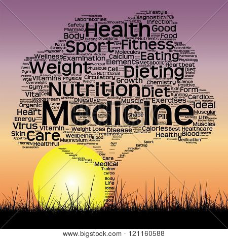 Concept or conceptual black health text word cloud as tree and grass on sunset sky background