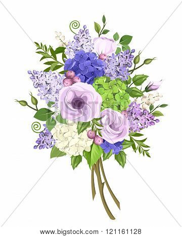 Bouquet of purple, blue, white and green flowers. Vector illustration.