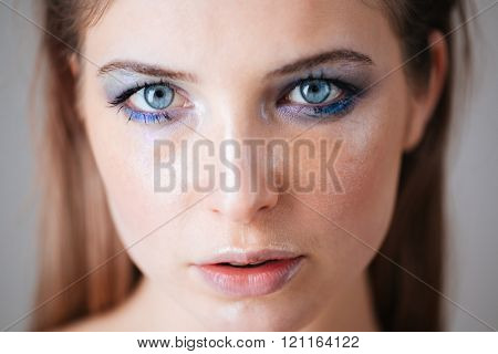 Beauty portrait of a young woman with fresh skin
