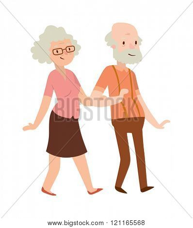 Grandmother and grandfather in modern flat design vector. Elderly people vector old lady and old man in modern flat design. Grandmother and grandfather. Grandmother and grandfather family.