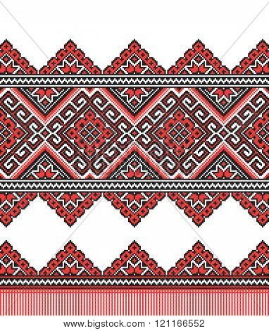 red and black embroidered good like old handmade cross-stitch ethnic Ukraine pattern. Ukrainian towel with ornament, rushnyk called, in vector