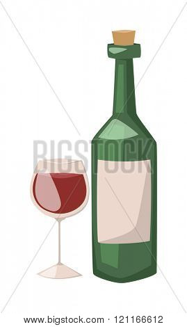 Wine bottle and glass of alcohol illustration. Red wine in a glass isolated on white background - realistic cartoon . Glass red wine . Wine bottle flat illustration.