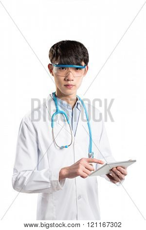 young asian man doctor in white gown on white background