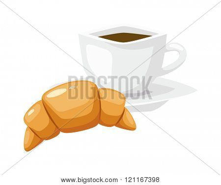 French breakfast, croissant vector food with cup of hot coffee. Fresh croissant with cup of hot coffee on white background. Fresh french croissant on white background. French breakfast.