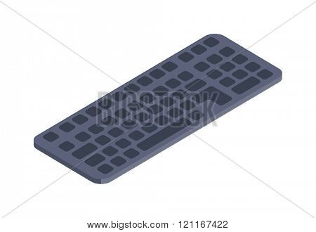 Computer keyboard vector isometric flat icon. Isometric icon computer keyboard vector. Computer keyboard isolated on white. Business technology equipment icon. Computer keyboard infographic icon.