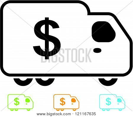 Truck with cash money - Vector icon isolated.