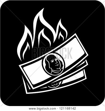 Burning cash dollars - Vector icon isolated