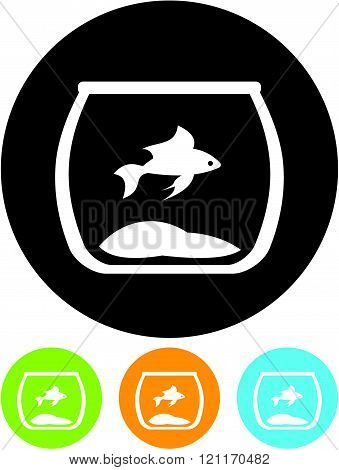Goldfish in Fishbowl - Vector icon isolated