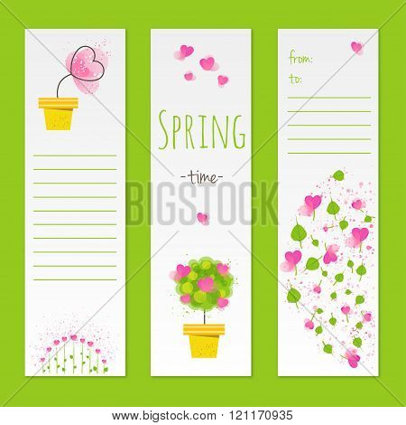 Spring Style Gift Cards With Flowers. Stock Vector Illustration