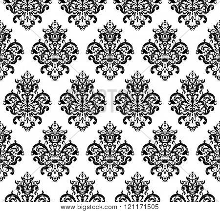 Black and white Seamless repeating Vector Pattern. Elegant Design in Baroque Style Background Texture.