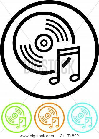 Music CD or LP record - Vector icon.